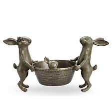 Rabbit Family Planter Holder Bunny Gardeners Metal Garden Sculpture Flower Pot