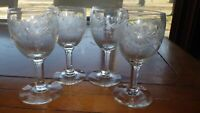 Vintage Etched Cordial Glasses Stems Aperitif glasses 4 3 oz elegant stemware