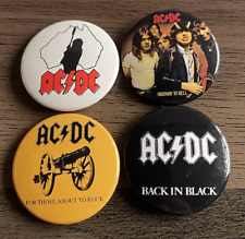 ACDC Set Of 4 Button Badges - Classic Rock Band Highway To Hell 25mm Pins AC/DC