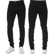 Mens KRUZE Super Stretch Skinny Jeans Slim Fit Basic Pants All Waist & Leg Sizes