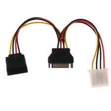 SATA Power Y-Splitter Cable Adapter to 4pin Molex&SATA Female for Hard Drive