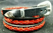 Black HATBAND with Braided RED Leather and Buckle Set Western Cowboy Hat Band
