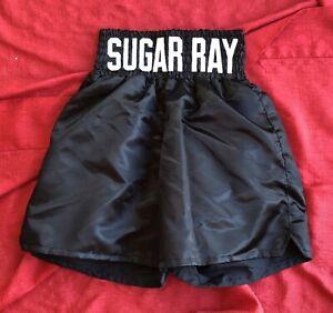 Sugar Ray Leonard Black Boxing Trunks Shorts