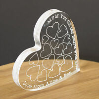 Personalised Clear Love Heart Message Keepsake Birthday Gift for Her, Mum Friend