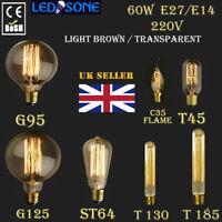 E27,E14 Screw 60W Vintage Antique Retro Style Lightbulb Filament Edison Dimmable