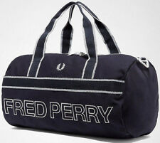 Fred Perry 2018 Blue Sports Canvas Barrel Bag Duffle Gym School Carry Backpack