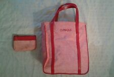 "CLINIQUE 2Pc PURSE PINK/RED PURSE COSMETIC BAGS 18""x9 1/2""x5 1/2""+ SML 5 1/2""X4"""