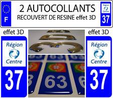 2 adhesivos de matrícula de coche TUNING CON RELIEVE 3D RESINA REGIÓN CENTRO 37