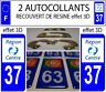 2 stickers plaque immatriculation auto TUNING DOMING 3D RESINE REGION CENTRE 37