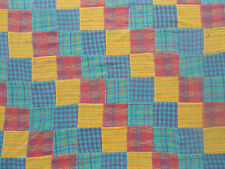 """Flannel Fabric Pieced Quilt Top 4"""" Sqr Patchwork Teal Purple Pink Plaid Madras"""