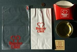 1970s Era Burger Chef Restaurant 5-FIVE piece wrapper-bag-fry box-ashtray set!