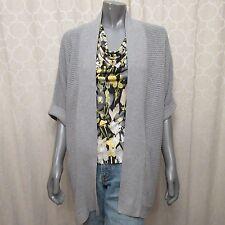 GAP Light Gray Short Sleeves Ribbed Cardigan Sweater Coat Sz XL
