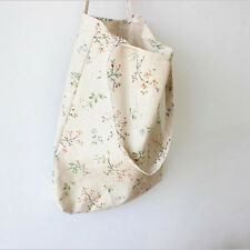 Tote Shopping Bag Cotton Canvas Enviromental Literary Flower with Pocket Inside