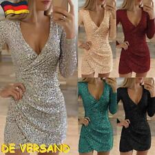 Sexy Damen Pailletten Minikleid Partykleid V-Ausschnitt Abendkleider Clubwear DE