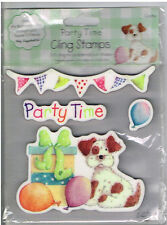 PARTY PUPPY, BUNTING, BALLOONS & WORDS CLING STAMP SET- 4 STAMPS