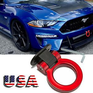 1x JDM Red Sport Racing Car Fake Trailer Ring Tow Hook Trim Decoration Universal
