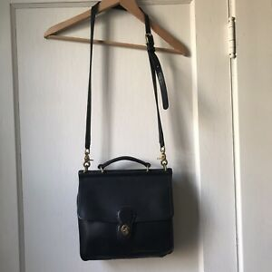 Vintage COACH Purse Willis Black Leather Crossbody Bag K5C-9927 Brass Hardware