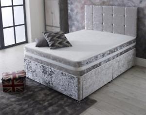 Velvet Divan Bed with Memory Foam Mattress & Headboard 4FT6 Double 5FT Kingsize