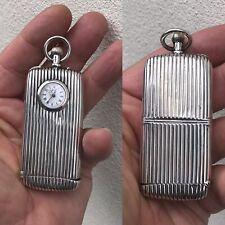 Antique Solid Silver Travelling Clock Vesta Case & Sovereign Coin Holder Chester