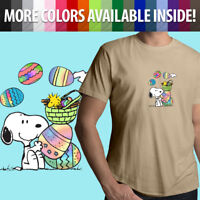 Unisex Mens Tee Crew T-Shirt Peanuts Snoopy Woodstock Easter Eggs Spring Cartoon