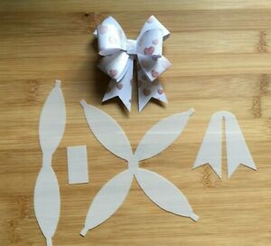 Hair Bow Making Template Stencil 4 pieces Christmas Wrap Bow for Hair