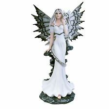 Vanya 53cm High Large Fairy & Silver Dragon Figure Gothic Angel Nemesis Now