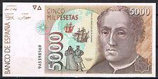 ESPAÑA - 5000 PESETAS 1992 C. COLÓN  Serie 9A    EBC  XF