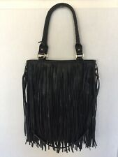 steve madden tote purse Black Fringe Large With Strap Faux Leather