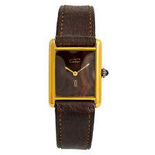 Cartier Tank Vermeil Vintage Womens Hand Winding Watch Wooden dial 24mm