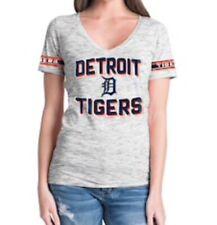 DETROIT TIGERS MLB Baseball New Era Women's M Gray V-neck t-shirt NWT