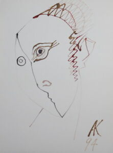 1994 ABSTRACT MALE PORTRAIT WC PAINTING CUBISM SIGNED