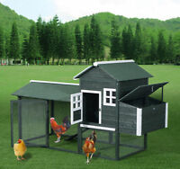 "Chicken Coop 84"" Wooden Backyard Nest Box House Hen Poultry Wood Hutch Nesting"
