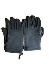 RRL Navy Wool Black Leather Gloves Navy Blue Black Ralph Lauren Double L/XL New