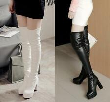 Ladies Tight Over The Knee High Boots High Heel Platform Punk Shoes Plus Size