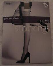 JOHN LEWIS WOMAN 15 DENIER SHEER GLOSS LACY TOP STOCKINGS NATURAL TAN S/M