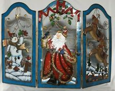 Christmas Fireplace Screen Guard  - Santa Snowman Reindeer- Metal- Excellent