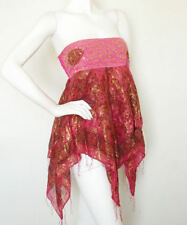 L120 Hippie Sequins Embroidered Lurex Shimmering Blouse Tube Top Skirt - S & M