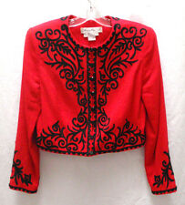 Marie St. Claire Red Lined Bolero Jacket Black Trim Size 6