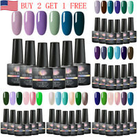 MEET ACROSS 6PCS 8ml Color UV Gel Nail Polish Set Base Top Coat Soak Off Varnish