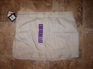 New Womens Ellen Tracy Linen Skort Skirt Chambray White Green Iron Tan S XL 2XL