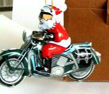 HARLEY DAVIDSON TIN MOTORCYCLE WITH SANTA CLAUS XMAS ORNAMENT 2000 ORIGINAL BOX