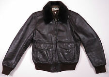 VTG L.L. BEAN BROWN LEATHER FAUX FUR COLLAR BOMBER FLIGHT QUILTED JACKET USA 42