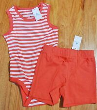 NEW Baby Gap Girl's 6-12M Summer Outfit Orange Tank Top Bodysuit & Knit Shorts