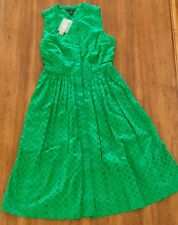 NWT J Crew Eyelet Lace Size 12 Cotton Dress Warm Clover Green #G4807 L SOLD OUT
