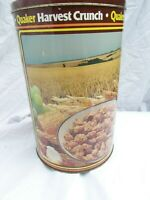 Vintage Quaker Harvest Crunch tin with lid, attractive pictures