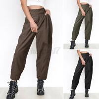 Womens Elastic High Waist Overalls Harem Long Trousers Casual Loose Harlan Pants