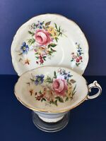 Paragon Dovedale Bone China Coffee Cup and Saucer Embossed w/Gold Trim England