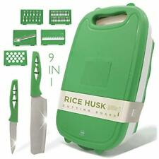 Cutting Board Boards For Kitchen - 9-In-1 Multifunctional Rice Husk Material + 2