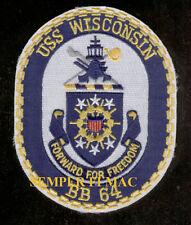USS WISCONSIN BB-64 PATCH US NAVY BATTLESHIP WW 2 VIETNAM IRAQ PIN UP VETERAN