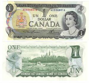 Canada $1 Dollars 1973 P-85a BC-46a UNC Lawson-Bouey AC Prefix Banknote